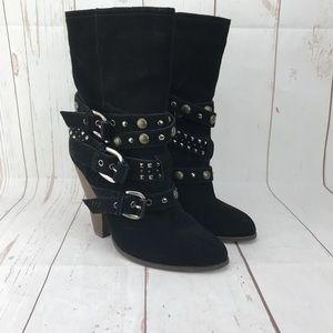 Steve Madden Black Suede Ankle Boots Size 8